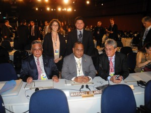 Members of the Marshall Islands delegation to Rio+20, the United Nations Conference on Sustainable Development (June 2012). From bottom left: Minister Phillip H. Muller, President Christopher J. Loeak, and Minister Tony deBrum. From top left: Rebecca Gruby, and Christopher deBrum