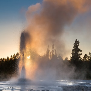 Pink Cone Geyser, Lower Geyser Basin; Neal Herbert; September 2014; Catalog #19663d; Original #5993